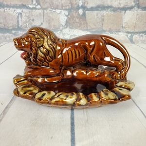 Vintage Lion Ashtray Jewelry Tray Japan Kitsch